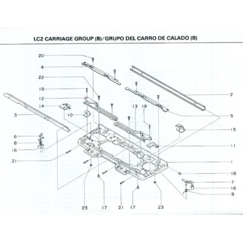parts diagram parts list lc2 silver reed the yarn guy. Black Bedroom Furniture Sets. Home Design Ideas